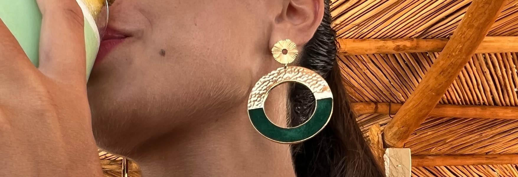 Boucle d'oreille femme - bijoux cuir