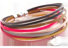 Bracelet en cuir multiliens multicolore Black Cherry Blossom